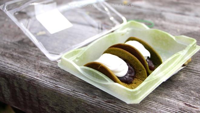 Matcha pancake with azuki red bean hokkaido japan