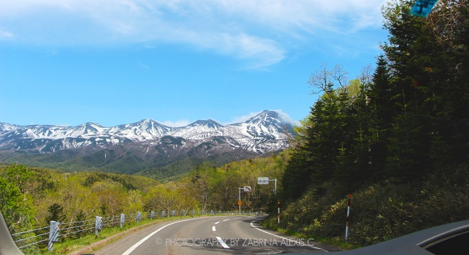 Driving on mountain roads Shiretoko Hokkaido