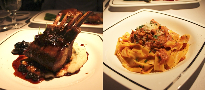 Lamb Rack and Veal Fettuccini