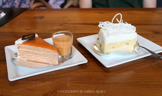Thai Tea Crepe cake and Coconut Cake White Flower Factory Bangkok Thailand